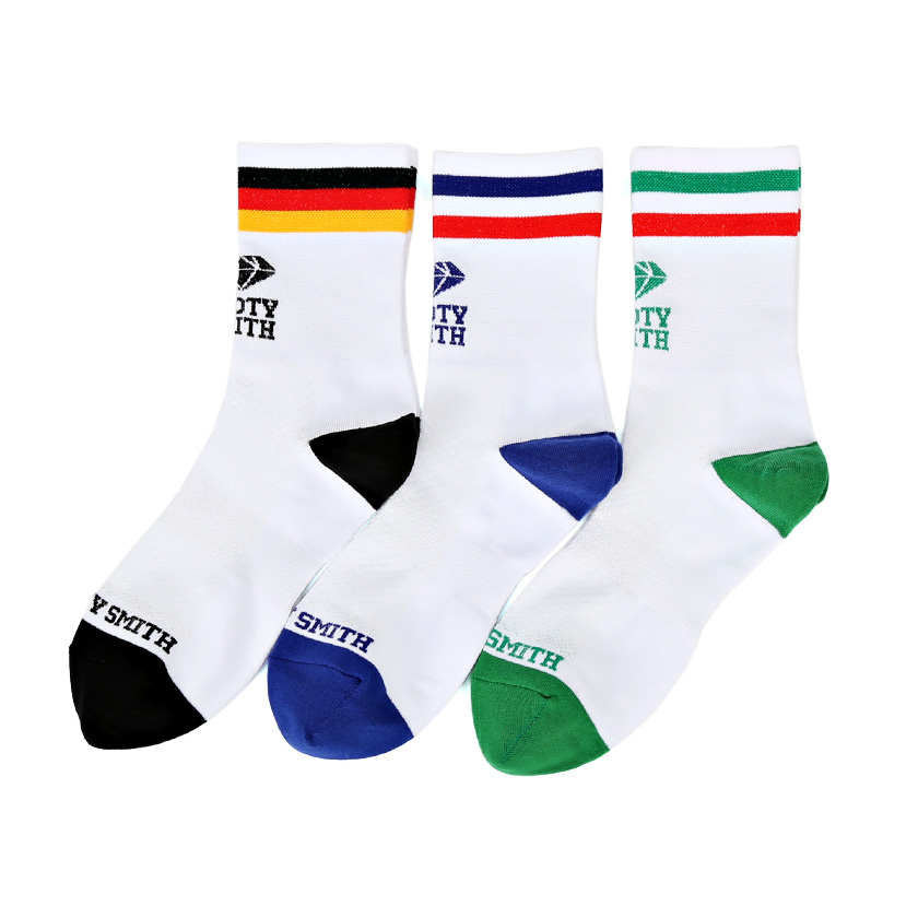 Pedaler Crew Socks: World 3P PACKSOOTY SMITH