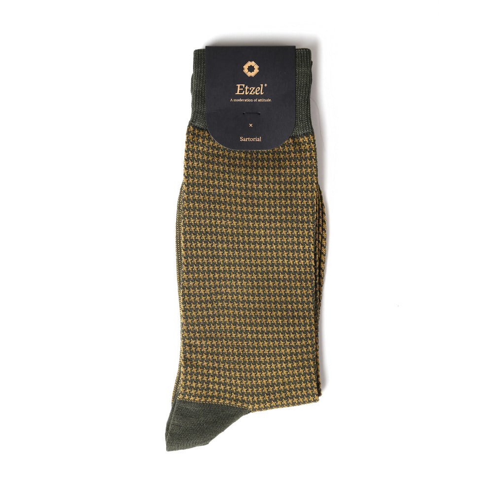 ETS013 Sartorial: Houndstooth Dress Socks : khakiEtzel