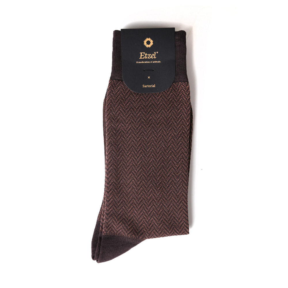 ETS016 Sartorial: Herringbone Dress Socks : brownEtzel