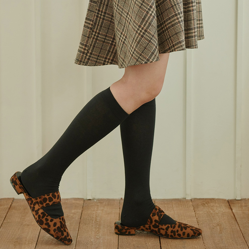 STW010 Cotton Solid Knee socks : blackSOCKSTAZ
