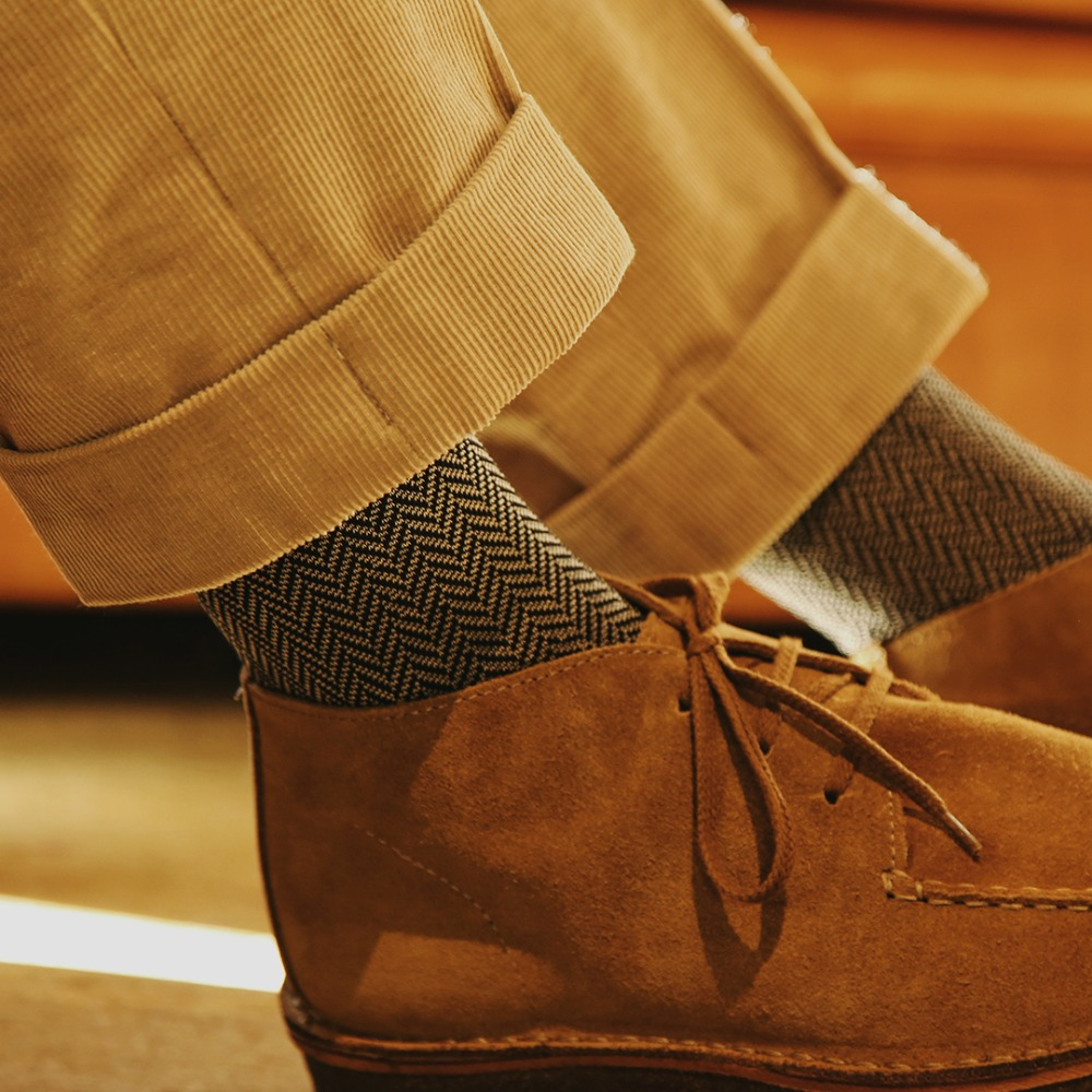 ETS015 Sartorial: Herringbone Dress Socks : blackEtzel