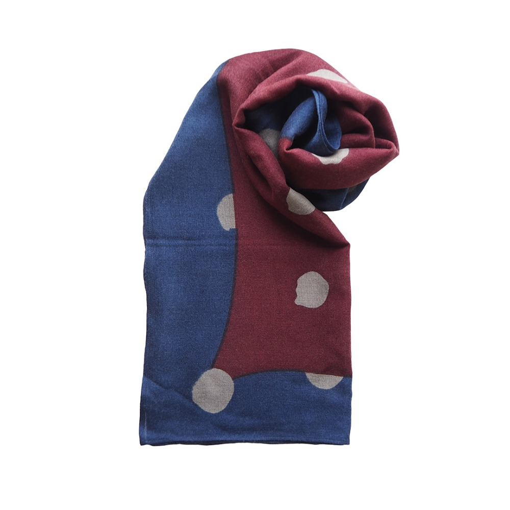 MSB256 India Wool Scarf 03 Dots : navyMAISON BLANCHE