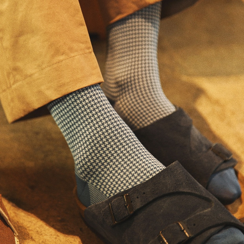 ETS020 Sartorial: Houndstooth Dress Socks : DenimEtzel