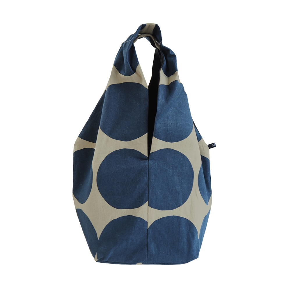 MSB234 Square Linen Bag : navy dotMAISON BLANCHE