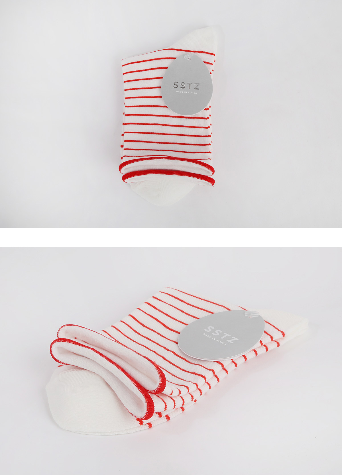 SSTZ ROLLTOP SINGLE STRIPE : RED socks