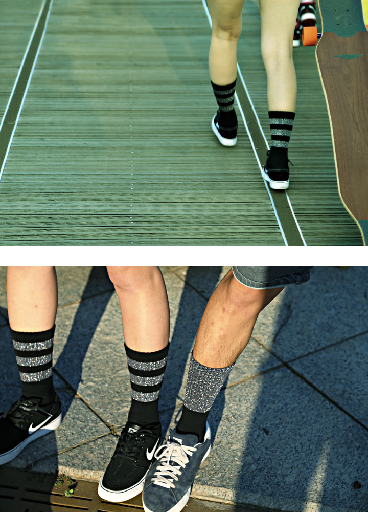 SSTZ METALIC SKATER STRIPE BK socks