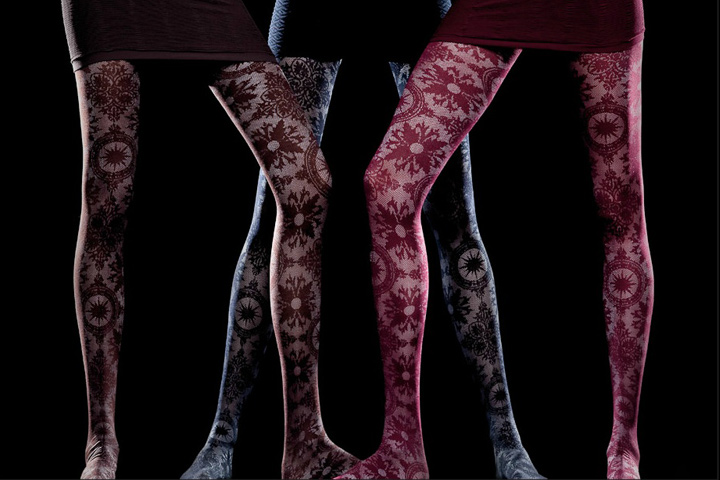 (90D) BAROQUE EMBROIDERED TIGHTS socks