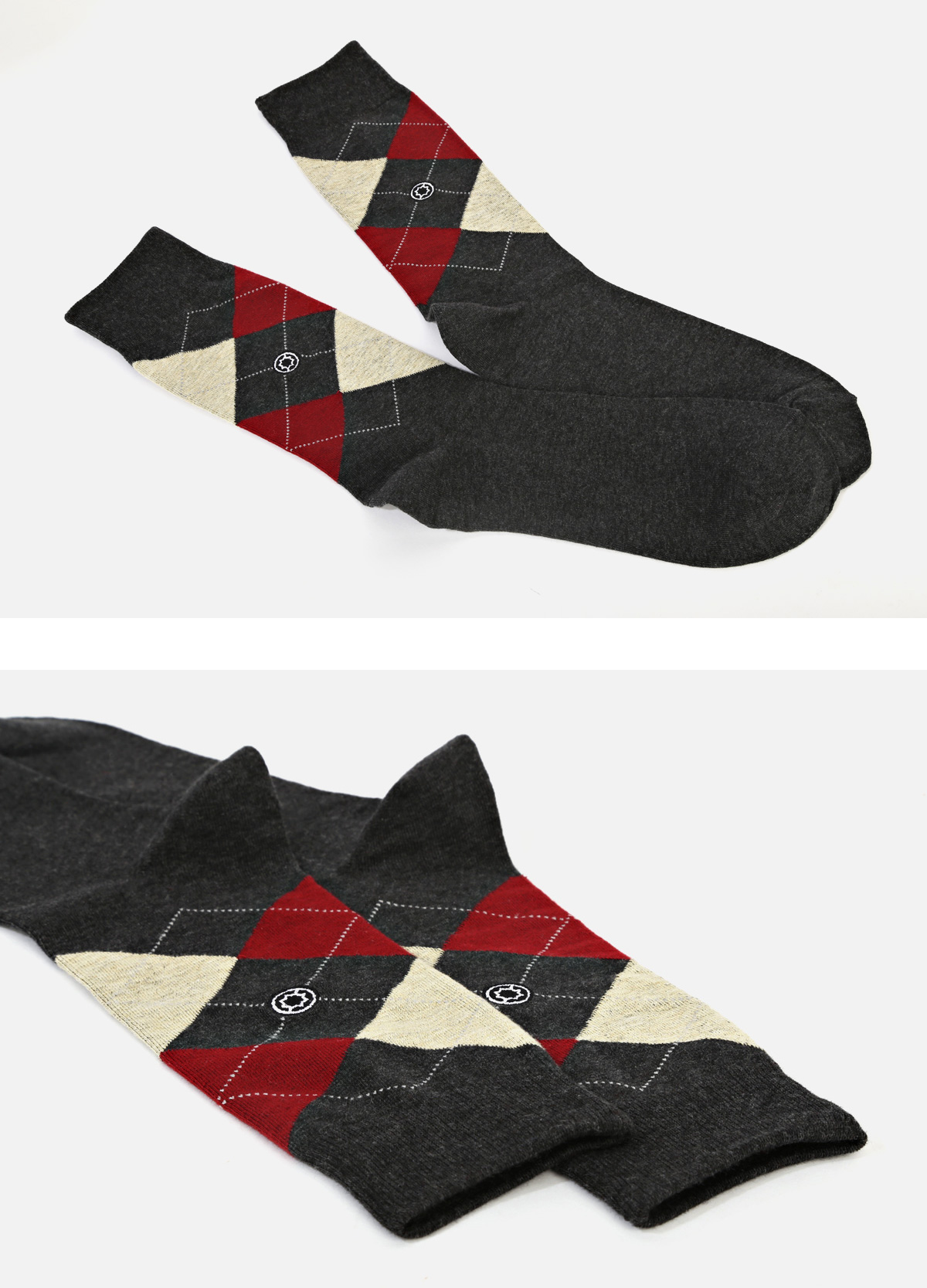 (Standard) Cotton Argyle: Charcoal socks