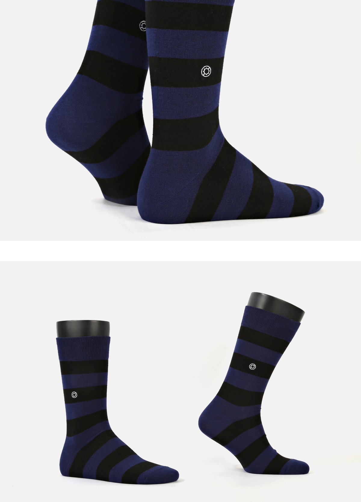 (Standard) Rugby Stripe: Royal Blue socks