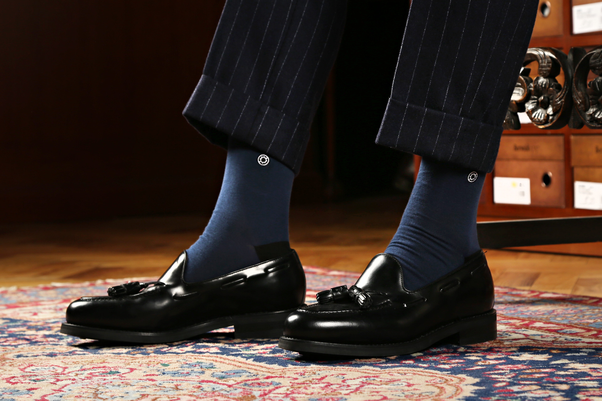(Standard) Cotton Solid: Blue socks