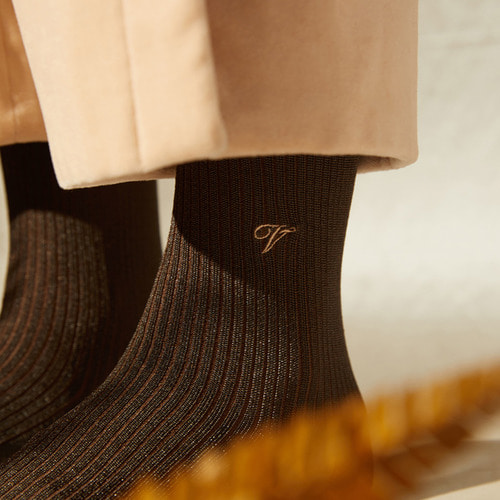 [Viaplain x Socks Appeal] silky socks, brownSocks Appeal