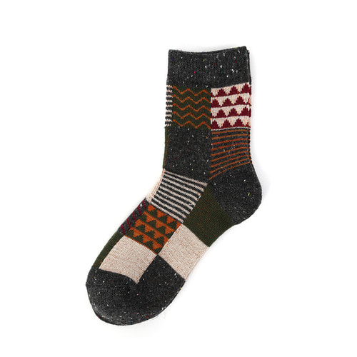 JP Patchwork Wool Socks : CharcoalTOKYO NOW