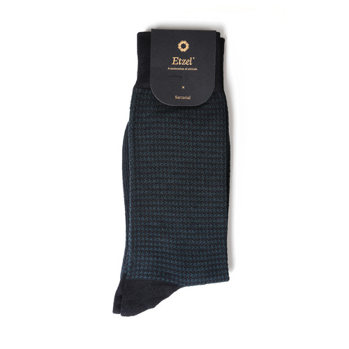 ETS011 Sartorial: Houndstooth Dress Socks : blackEtzel