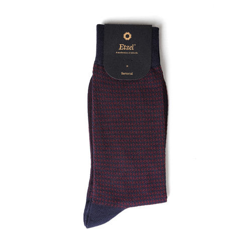 ETS012 Sartorial: Houndstooth Dress Socks : navyEtzel