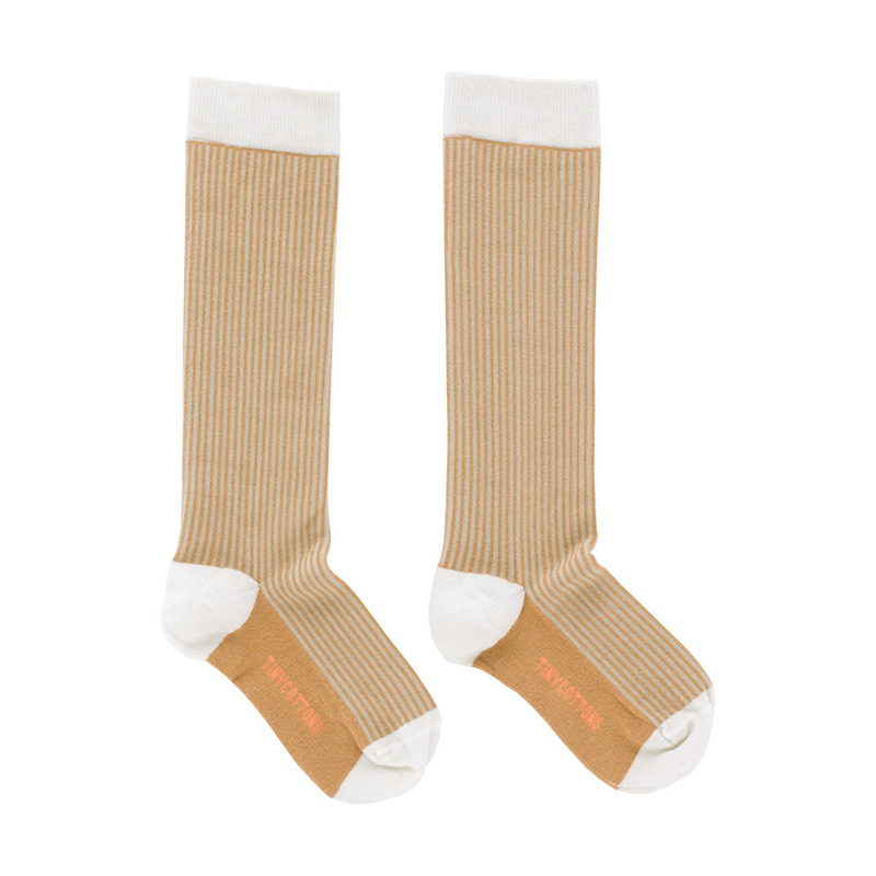 TNC023 Multi lines high socks : light grey/dark nudeTINY COTTONS