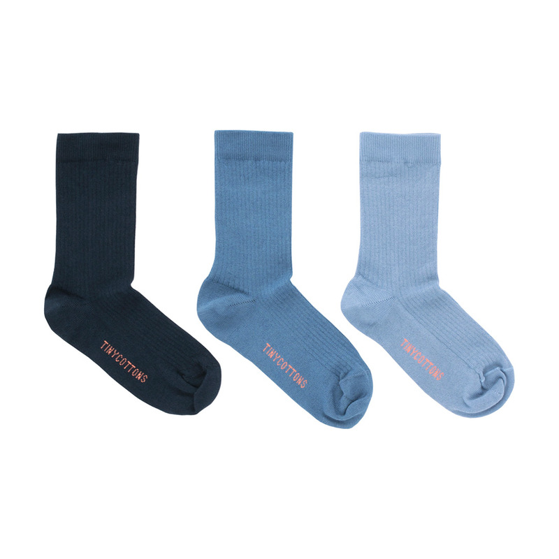 TNC026 Pack of 3 medium socks : blueTINY COTTONS