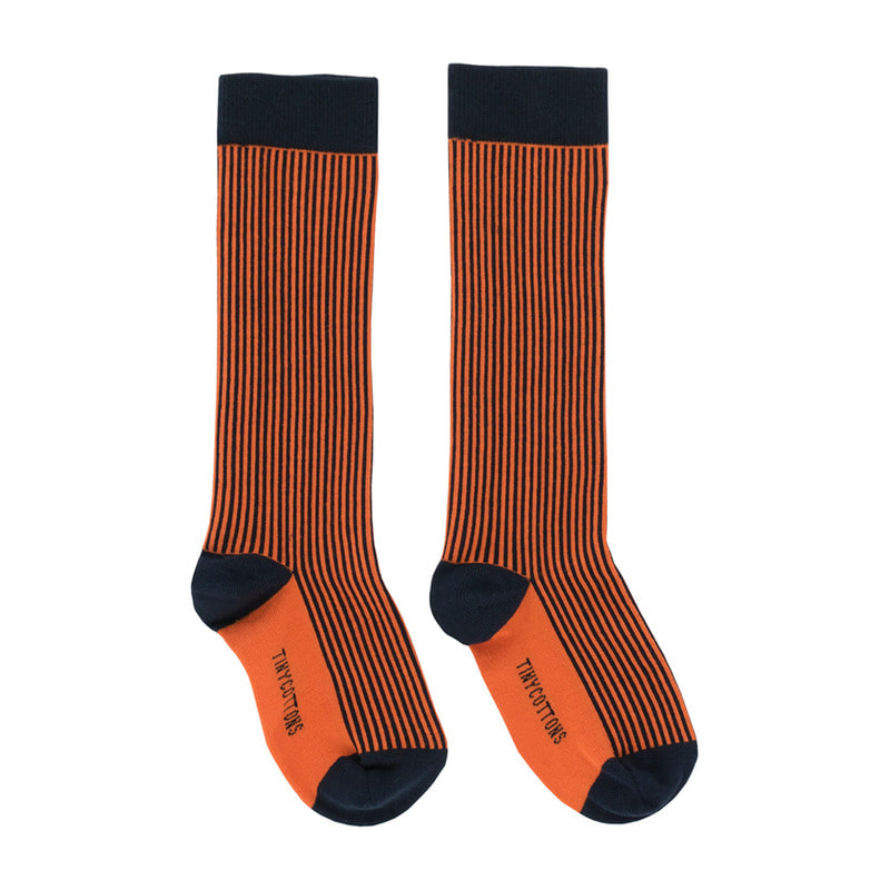 TNC024 Multi lines high socks : navy/orangeTINY COTTONS