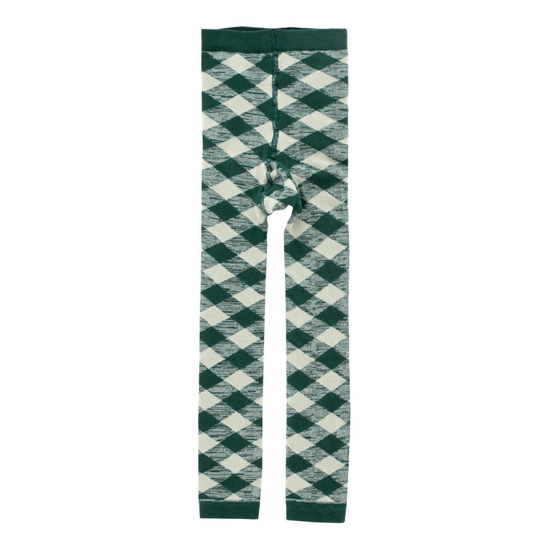 TNC030 Check leggings : dark green/pistachoTINY COTTONS