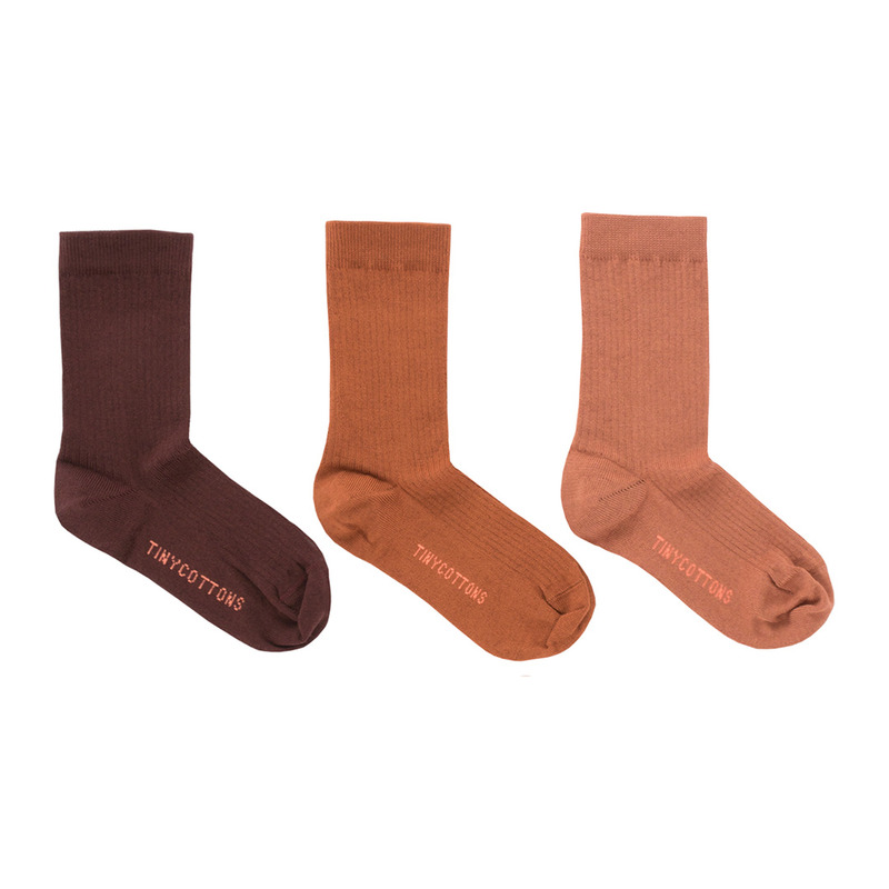 TNC028 Pack of 3 medium socks : brickTINY COTTONS
