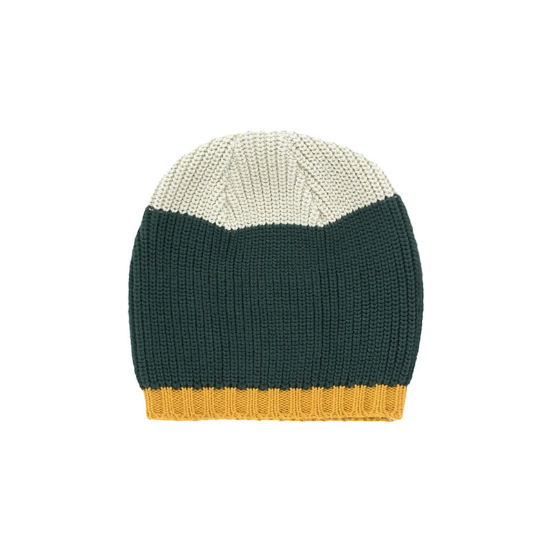 TNC042 Color block beanie : beige/dark greenTINY COTTONS