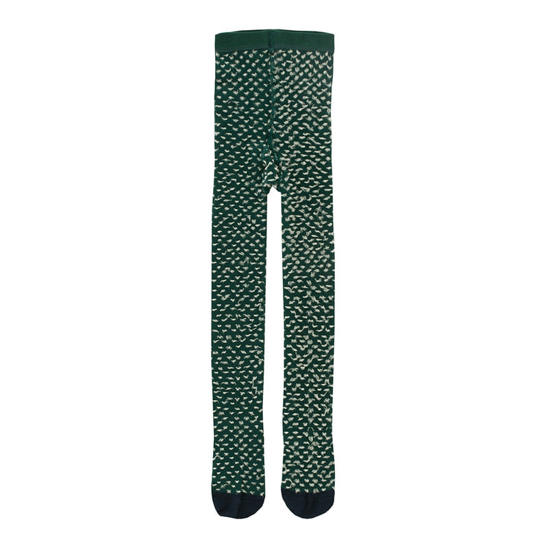 TNC034 Hairy tights : dark green/eggnogTINY COTTONS