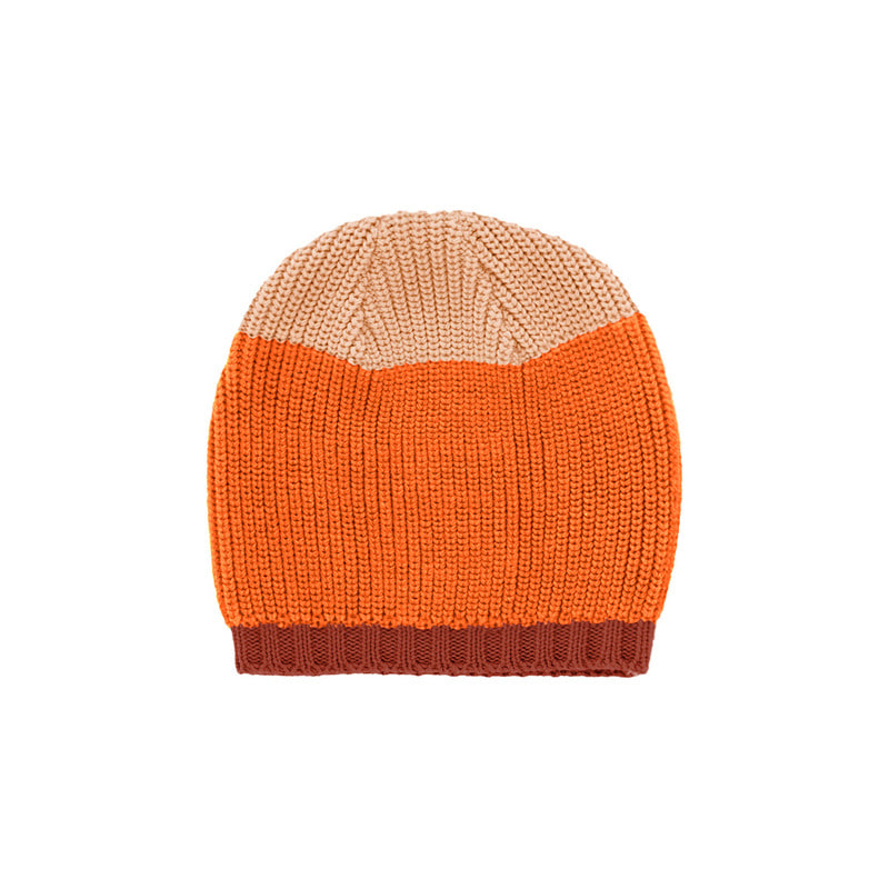 TNC041 Color block beanie : dark nude/redTINY COTTONS