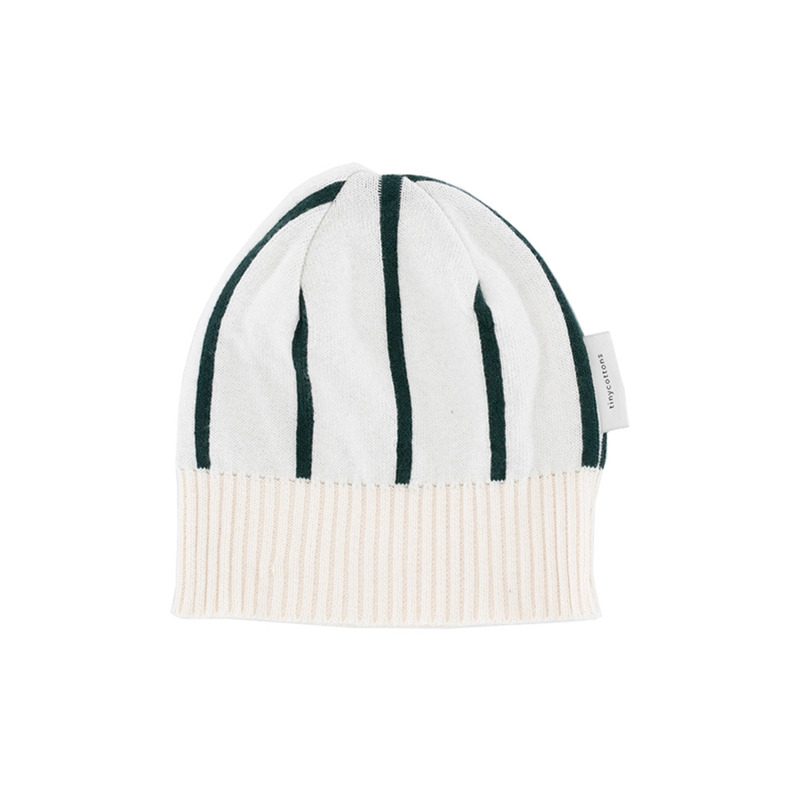TNC044 Stripe beanie : beige/dark greenTINY COTTONS