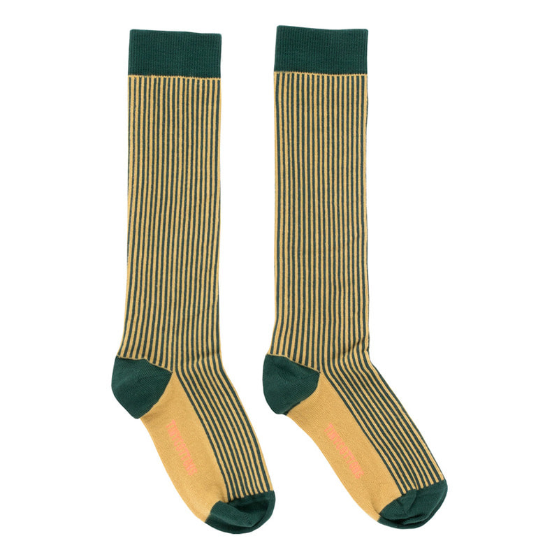 TNC022 Multi lines high socks : dark green/sandTINY COTTONS