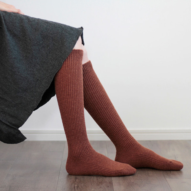 HCU026 tam wool long rib socks (3colors)HACU
