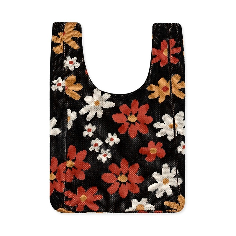 HFB175 70's Floral Shopper Bag : NavyHANSEL FROM BASEL