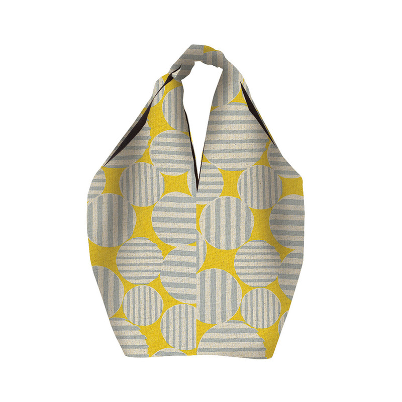 MSB106 Square Linen Bag 12 : yellow/greyMAISON BLANCHE