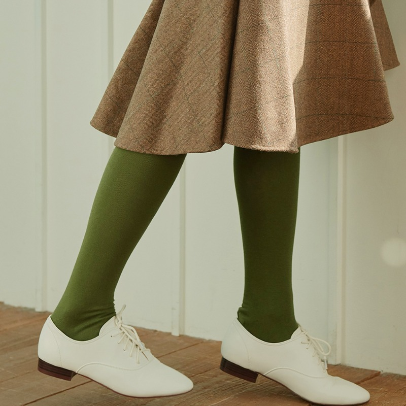 STW011 Cotton Solid Knee socks : olive greenSOCKSTAZ